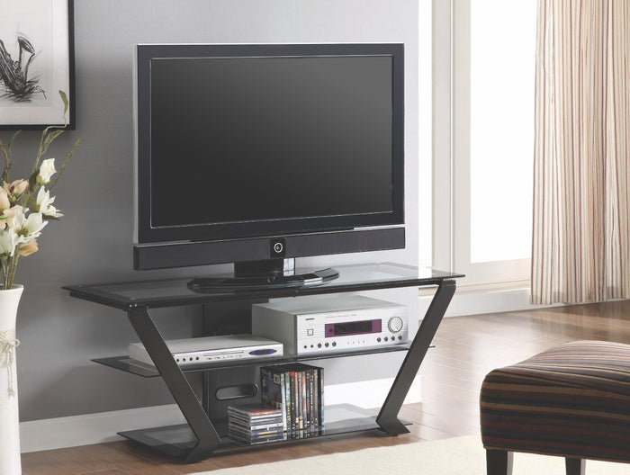 Glass Shelves & Black Steel Frame TV Console