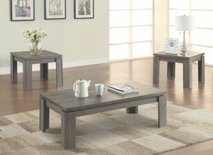 Rustic Weathered Grey 3 Piece Occasional Tables Set