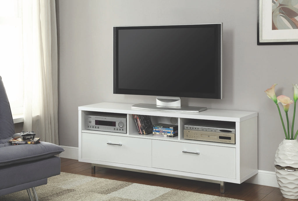 "Contemporary 60"" TV Stand in Cappuccino or White"
