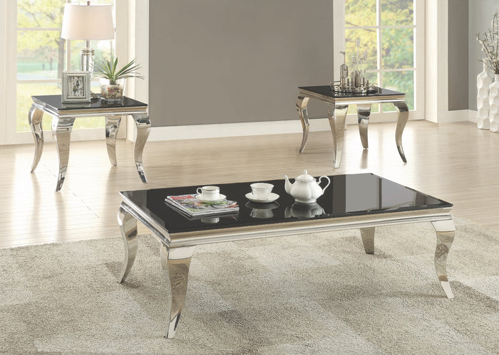 Queenie Black Glass Occasional Table Collection