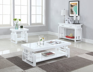 White Windowpane Design Occasional Table Collection