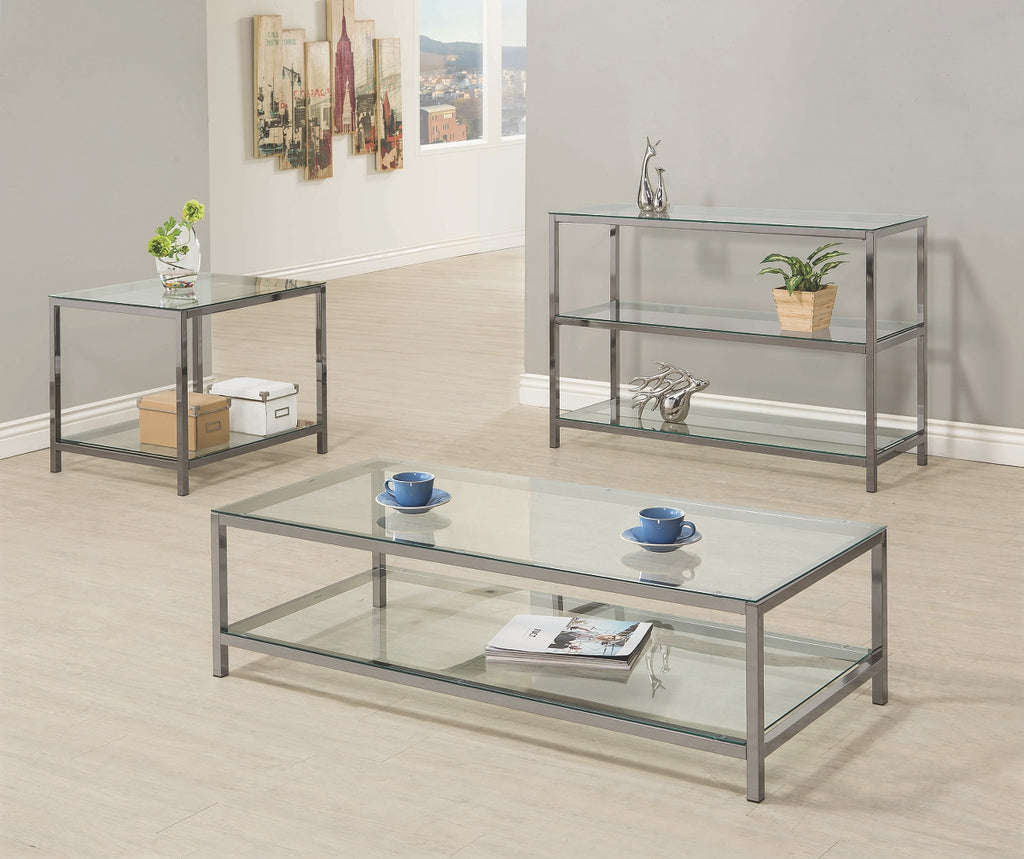 Contemporary Black Nickel Occasional Table Collection