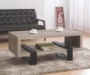 Grey Driftwood with Black Metal Legs Coffee Table