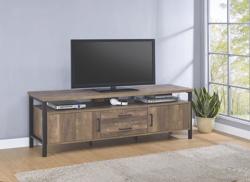 Rustic Oak TV Stand with Black Legs in 2 Sizes