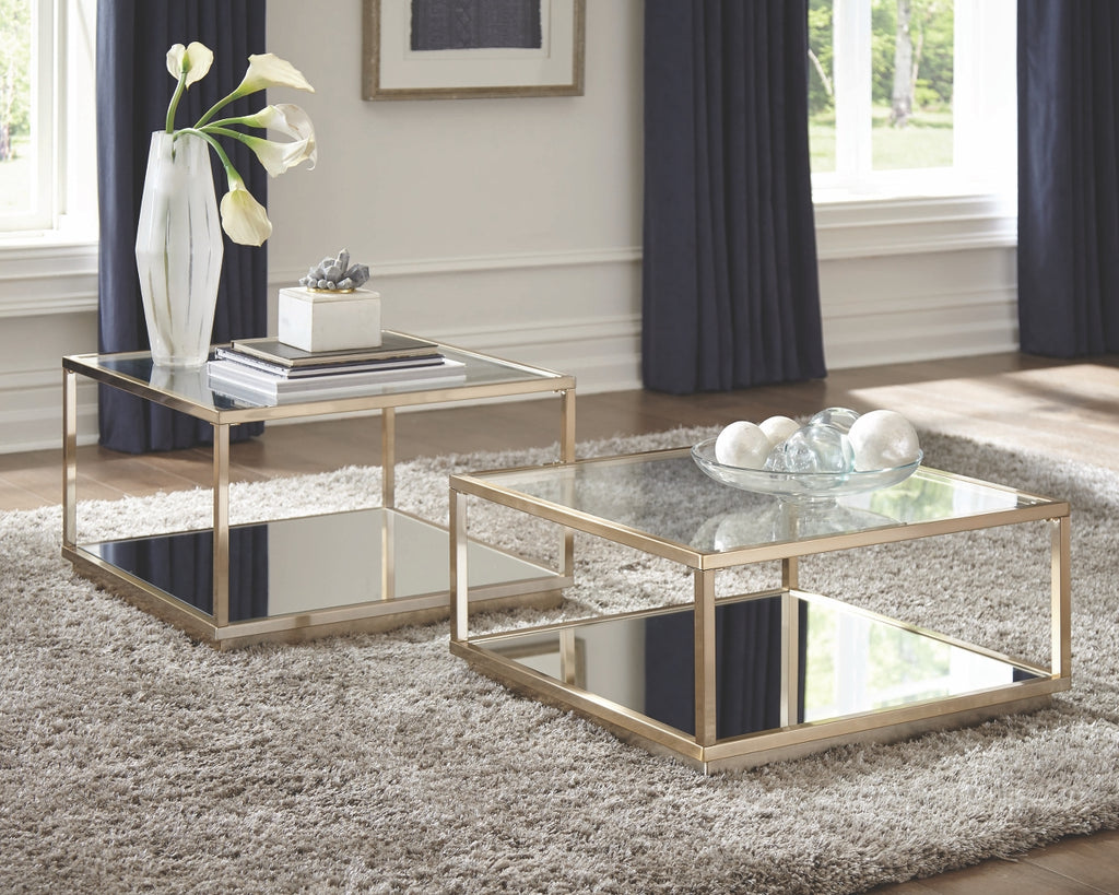 Square Glass Top Occasional Tables Set in Rose Brass