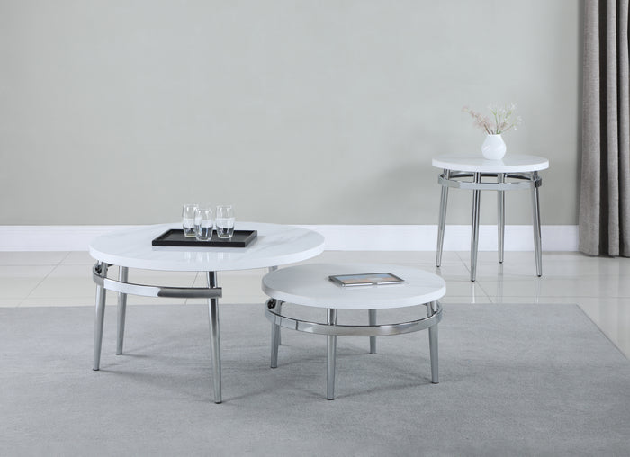 Round Faux Marble Occasional Table Collection