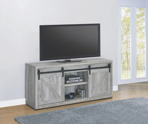 Grey Driftwood TV Stand with Sliding Barn Doors in 3 Sizes