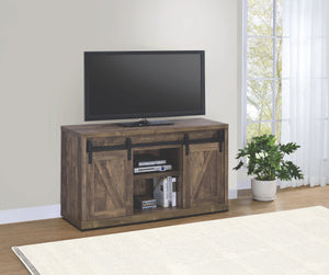 Rustic Oak TV Stand with Sliding Barn Doors in 3 Sizes