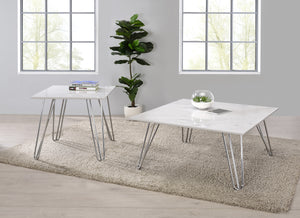 White Faux Marble Occasional Table Collection