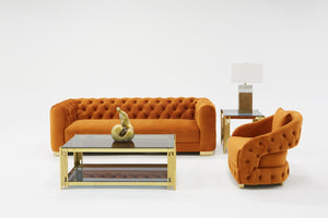 Duran Orange Velvet Living Room Collection
