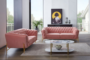 Tufted Salmon Velvet Living Room Collection