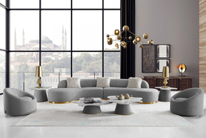 Fiona Grey Curved Sectional with Gold Base