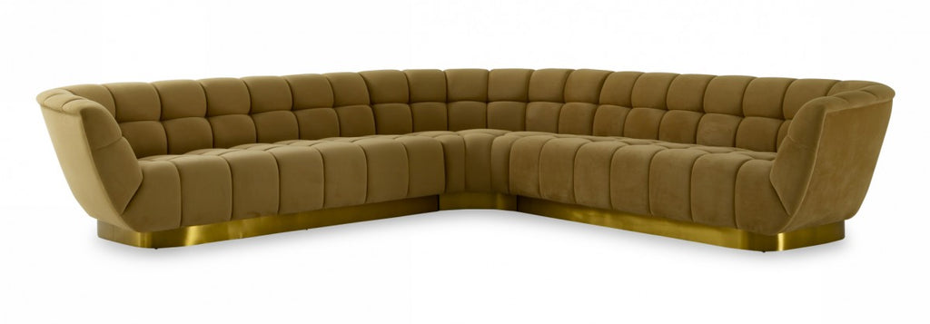 Danby Tufted Mustard Fabric Sectional