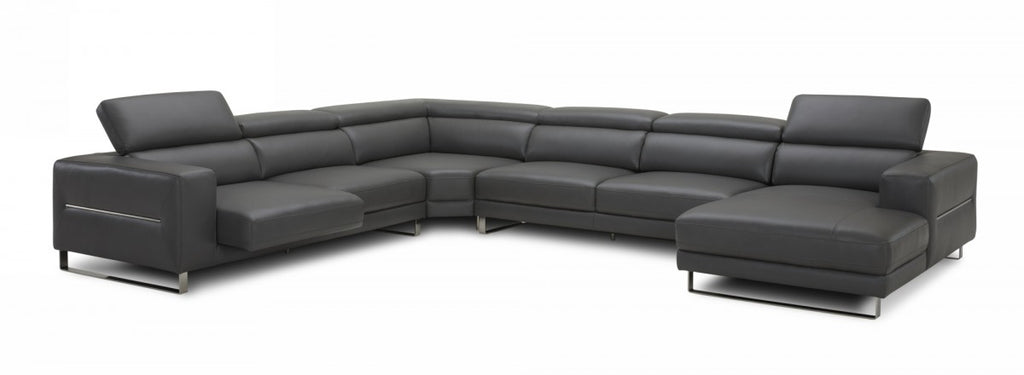 Hawkins Leather Sectional with Adjustable Headrests in Grey or White
