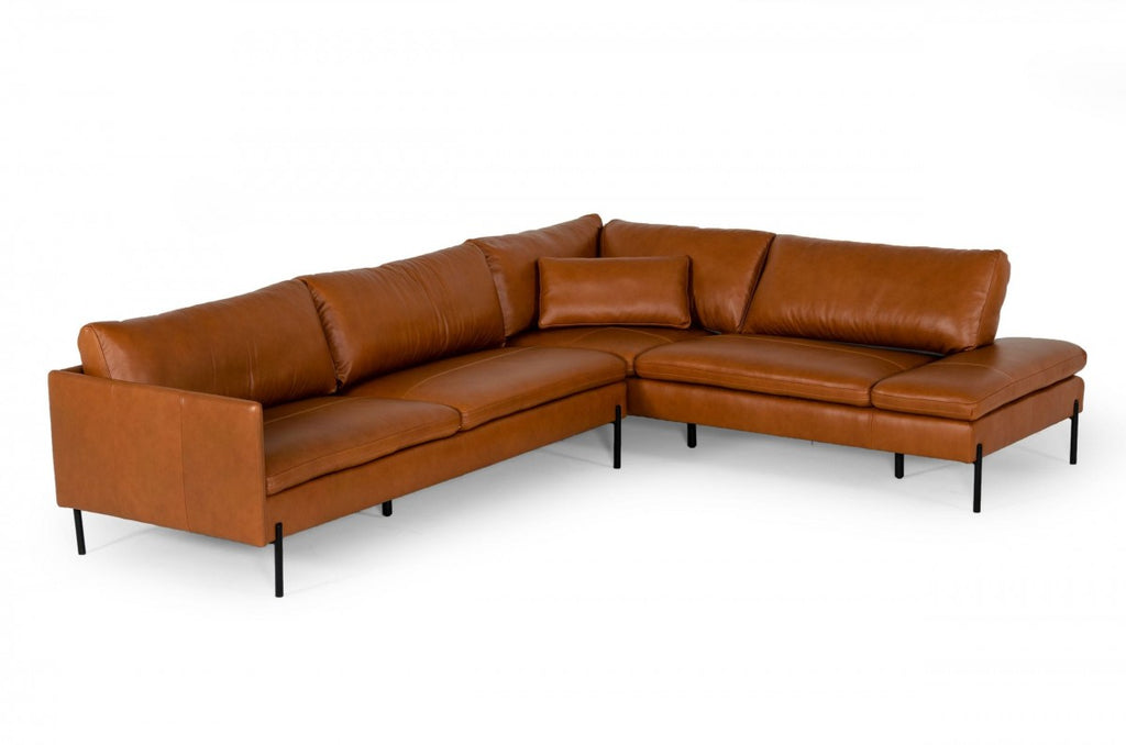 Cherry Leather Sectional in Cognac or Grey