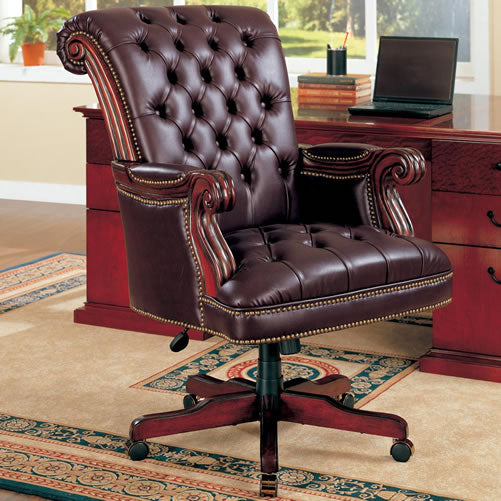 Traditional Leather Office Chair with Tufted Seat