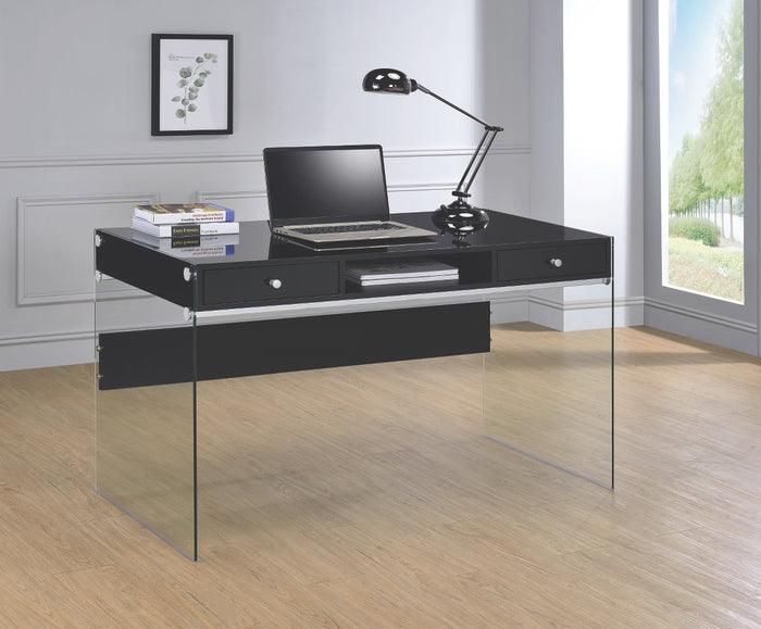 Debbie Writing Desk with Glass Legs in 3 Finishes