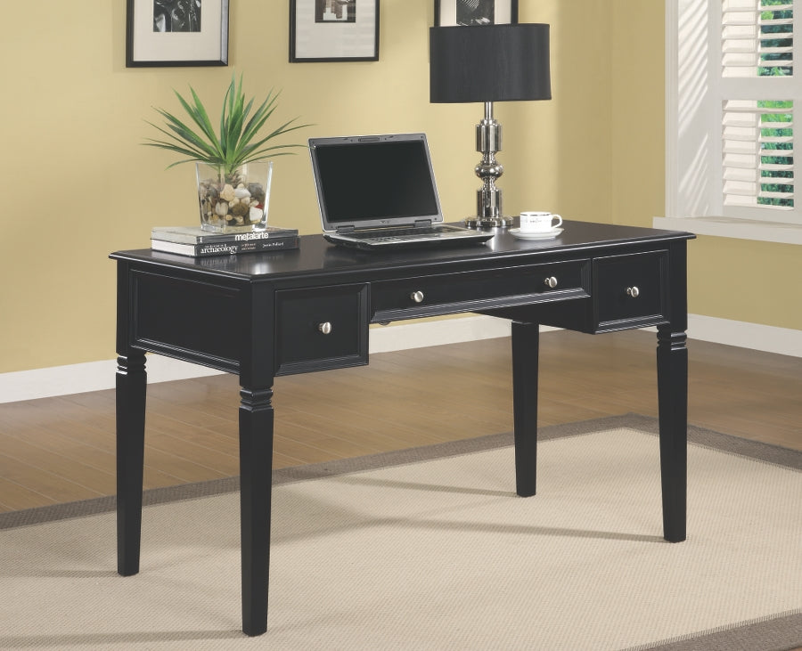 Transitional Black Wood Computer Desk