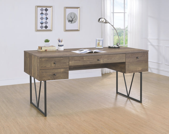 Analise Industrial Writing Desk with Open Shelf in 3 Finishes