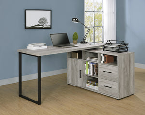 Hartford Rustic L-Shaped Desk in Grey or Antique Nutmeg