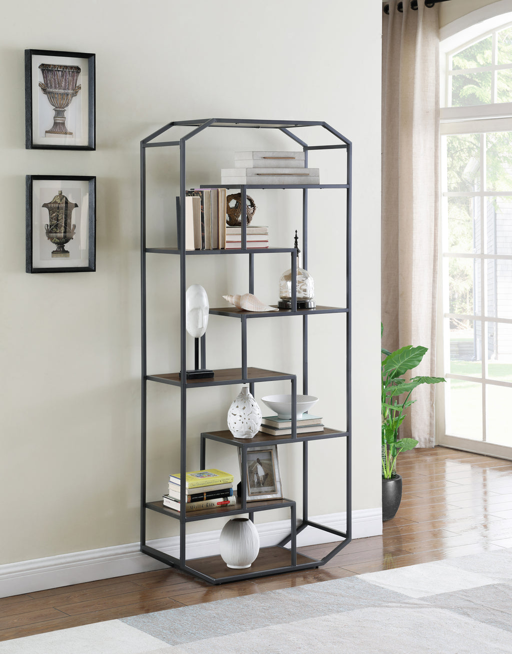 Industrial Brown Bookcase with Steel Frame