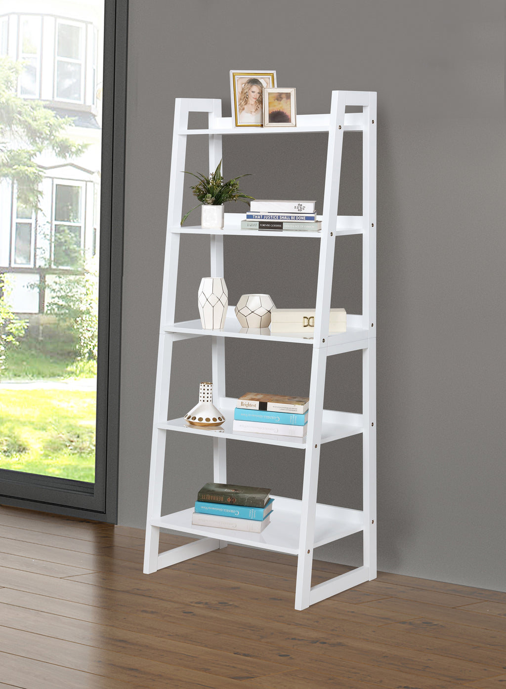 Ladder Bookcase in White or Cappuccino