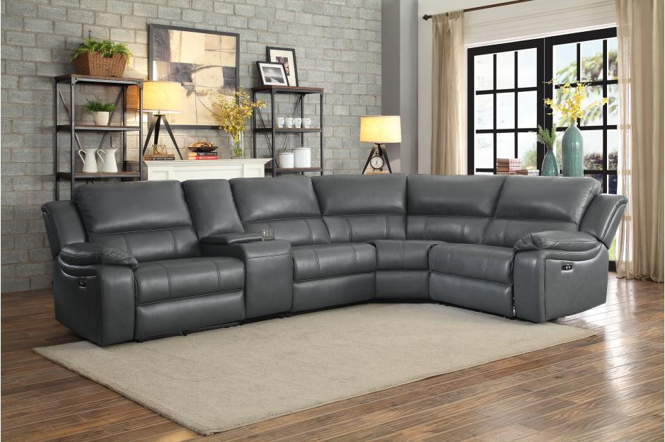 Fallon Power Reclining Sectional in Grey or Dark Brown