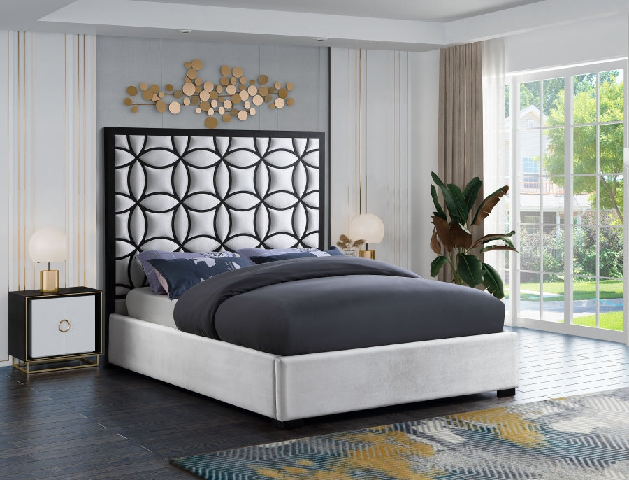 Talman White Velvet Upholstered Bed