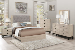 Whitney Bedroom Collection with Grey Tufted Linen Headboard