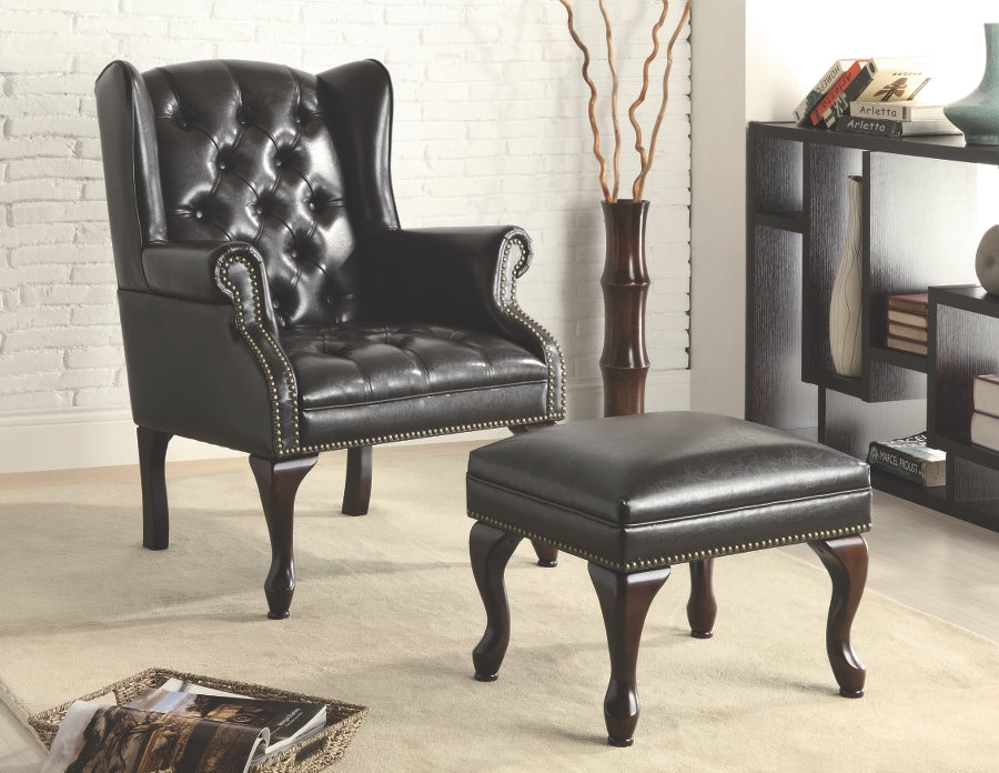 Traditional Wing Back Button Tufted Chair and Ottoman
