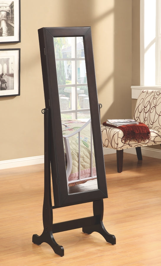 Jewelry Mirror Cheval in Dark Cappuccino Finish