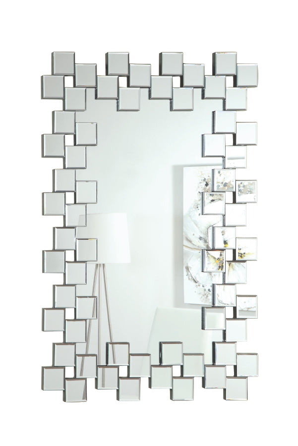 Contemporary Staggered Tiles Wall Mirror