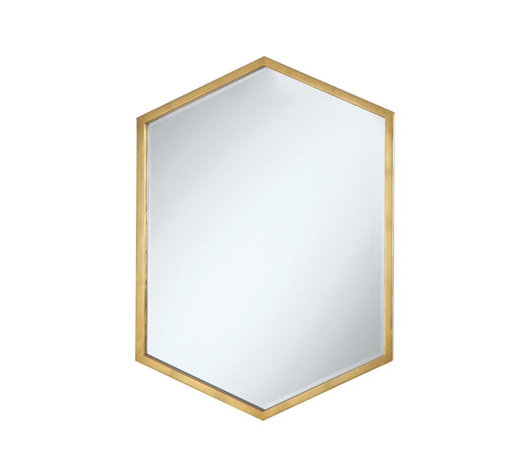 Hexagon Gold Frame Wall Mirror