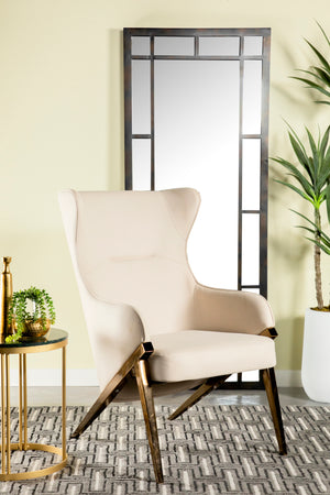 Brushed Bronze Accent Chair in Cream or Slate