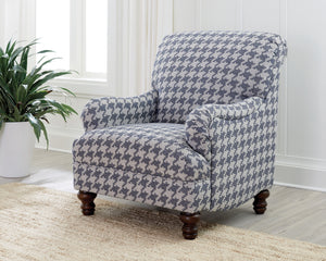 Houndstooth Patterned Accent Chair in Grey or Blue
