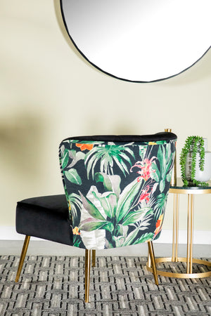 Floral Velvet Accent Chair