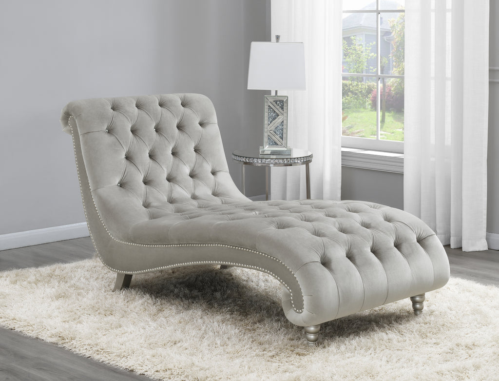 Tufted Grey Velvet Chaise with Silver Nailheads
