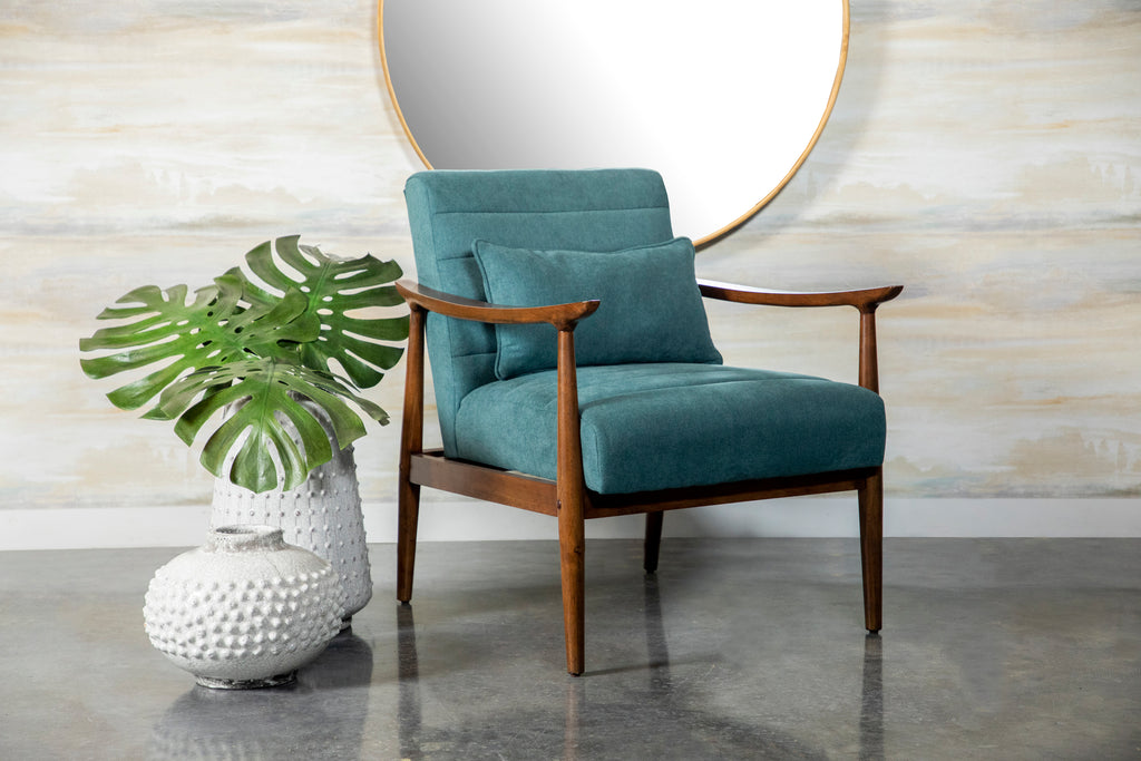 Teal Fabric Mid Century Accent Chair