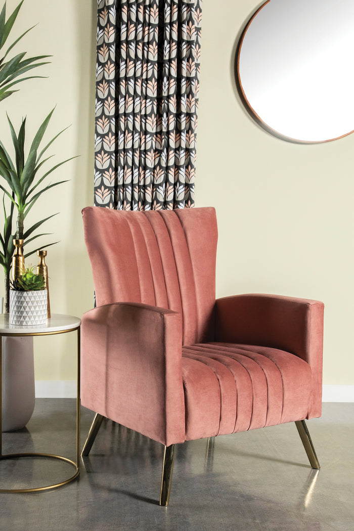 Channeled Tufted Velvet Accent Chair in Rose or Rust