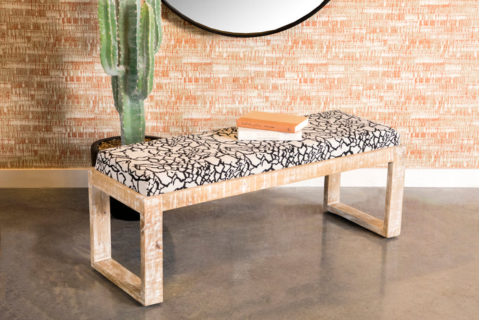 White Distressed Accent Bench
