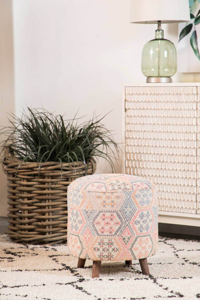 Distressed Bohemian Accent Stool in 2 Colors