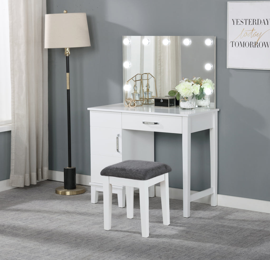White Hollywood Style Vanity with Stool