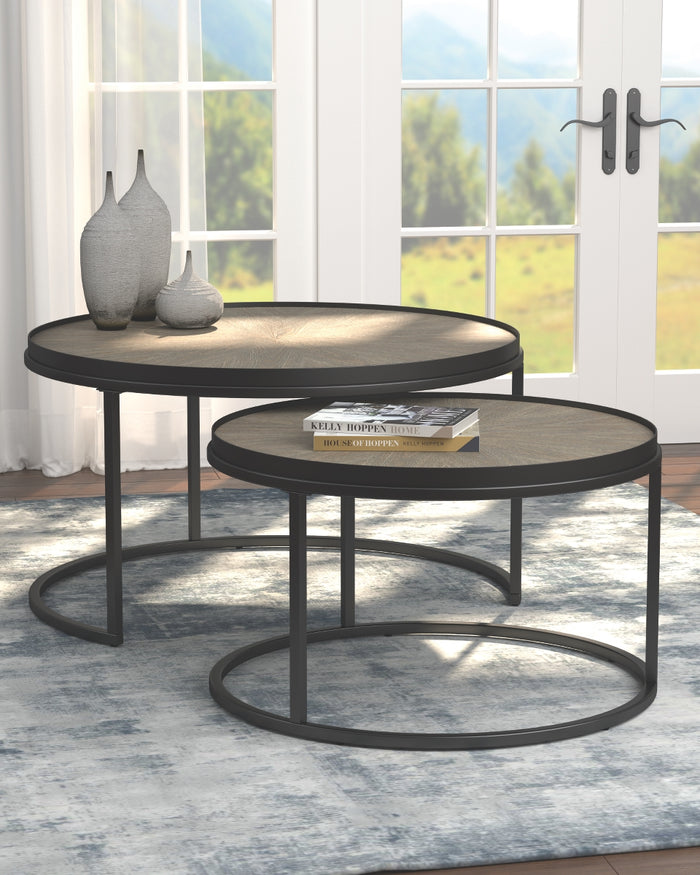 Weathered Elm Round Nesting Tables