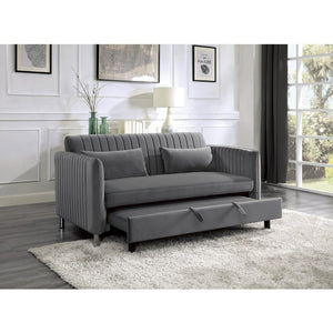 Grace Grey Velvet Convertible Sleeper Sofa