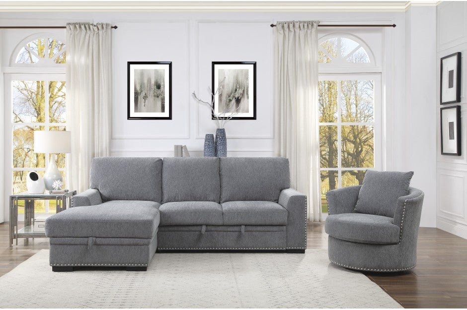 Moby Grey Fabric Sleeper Sectional