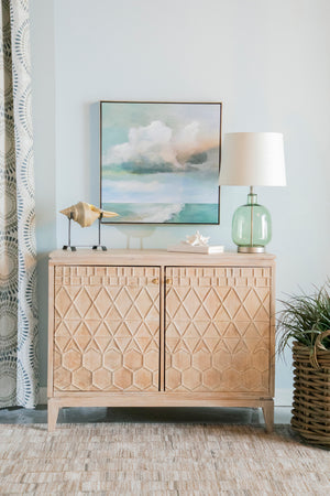 White Distressed Geometric Carved Accent Cabinet