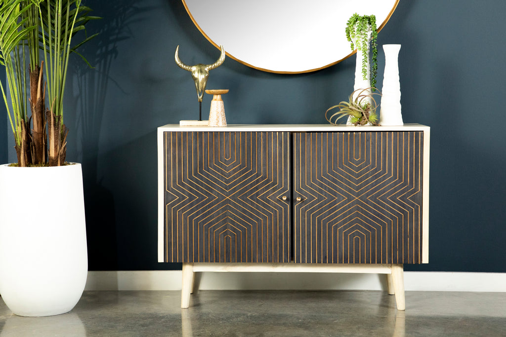 Mid Century Modern Accent Cabinet with Gold Carved Patterns