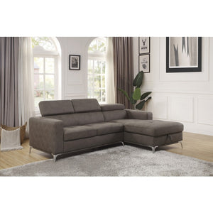 Demi Brown Fabric Sectional with Hidden Storage