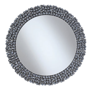 Round Grey Beaded Frame Wall Mirror