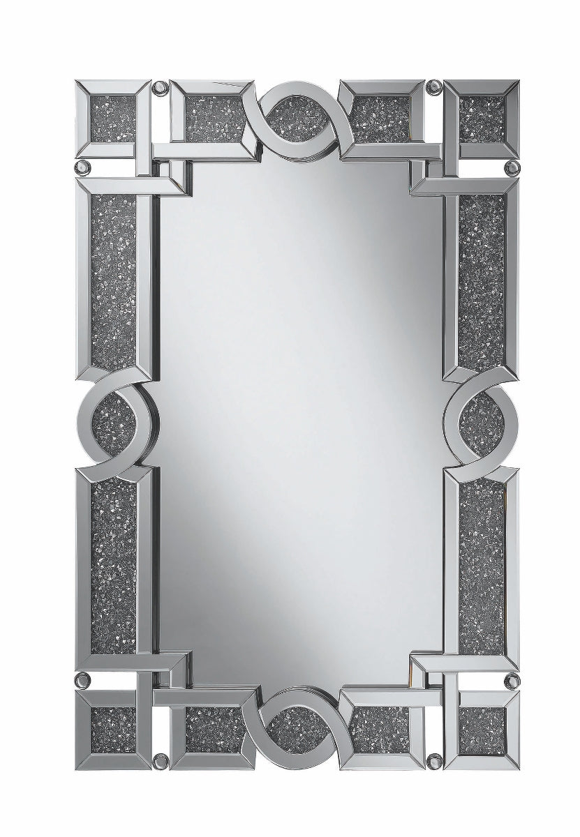 Interlocking Wall Mirror with Silver Beads